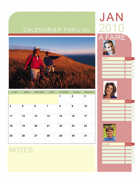 Calendrier photo 2010 familial