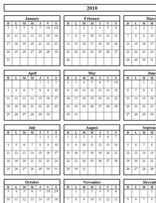 Calendrier perpétuel 12 mois et 3 mois