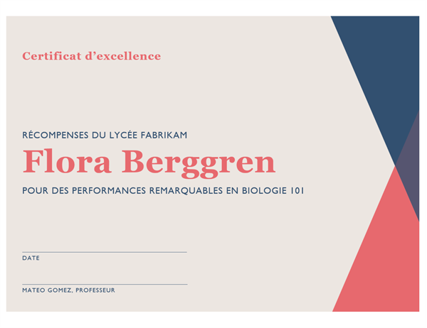 Certificat d'excellence de lycée