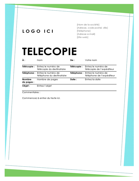 Page de garde de télécopie Géométrique