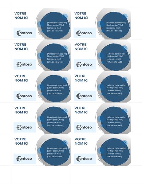 Cartes de visite aux sphères bleues