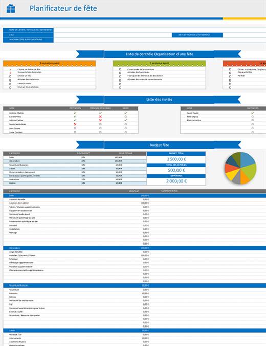 Planificateur de fête et liste de contrôle