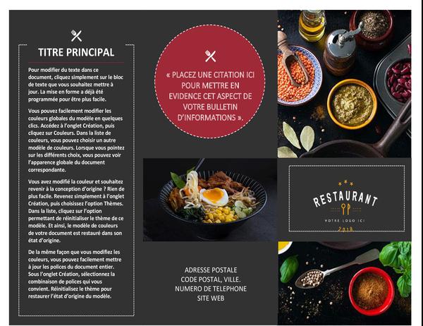 Brochure de restaurant