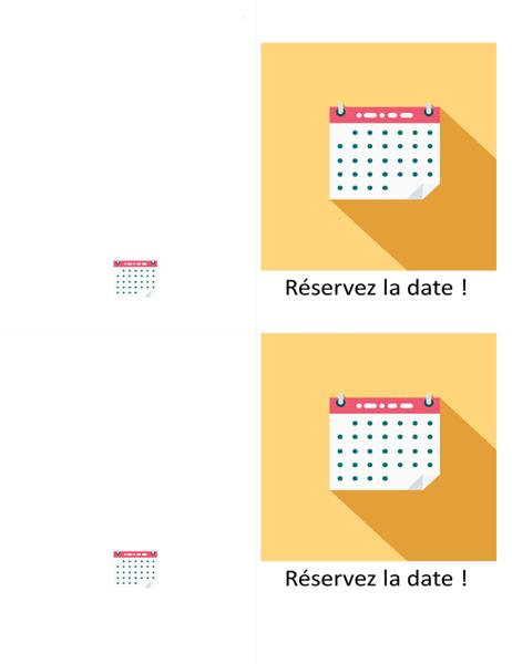 Carte de réservation de date
