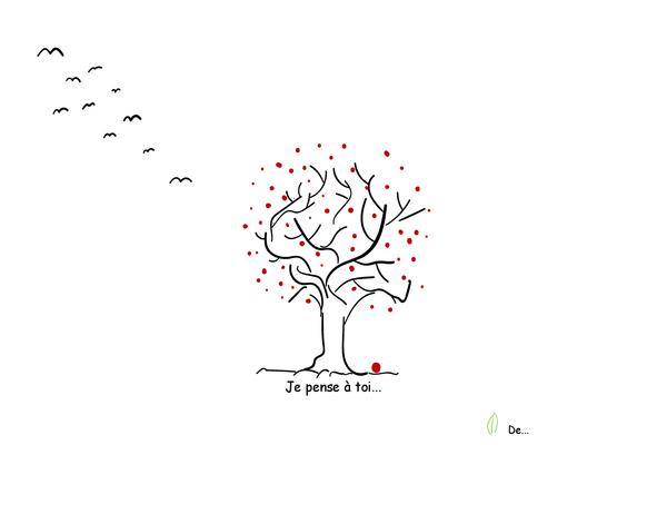 Carte de condoléances avec arbre