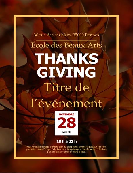 Prospectus de Thanksgiving Feuilles d'automne