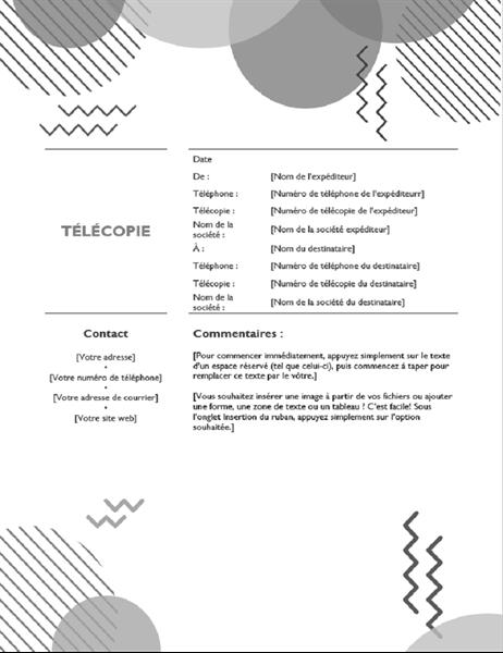 Page de garde de télécopie des années quatre-vingt, N&B