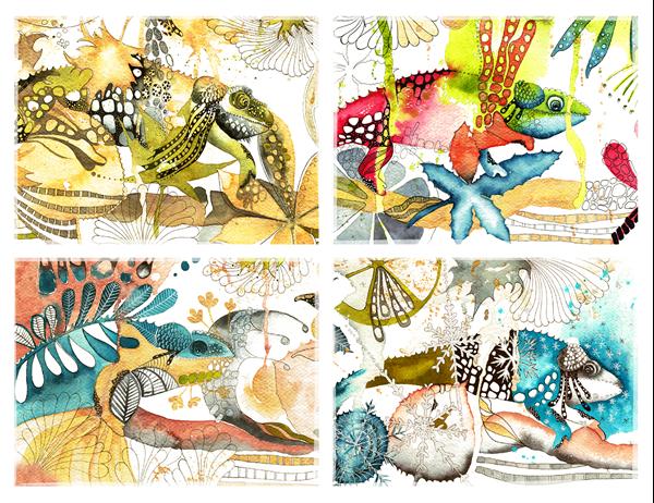Cartes postales caméléons