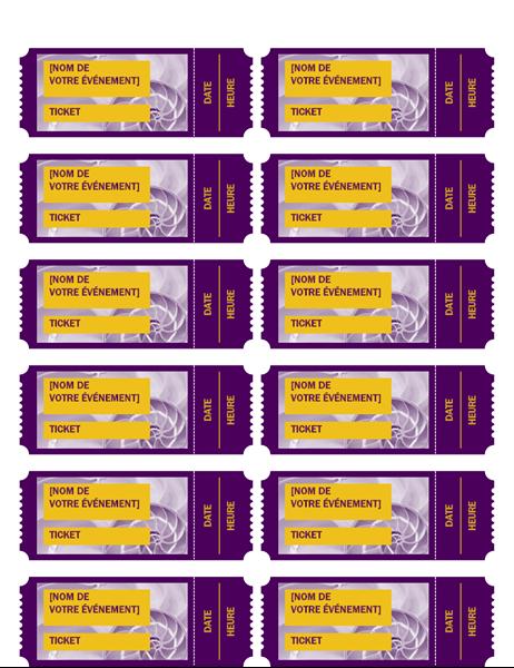 Tickets événement violets