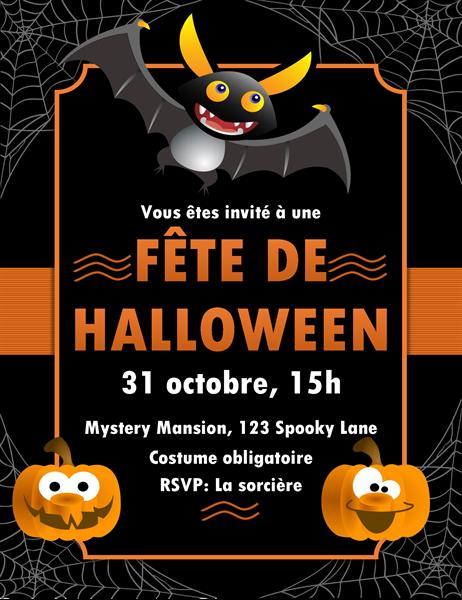 Invitation Halloween chauve-souris