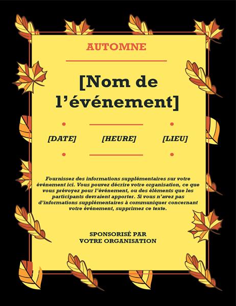 Prospectus d'événement Feuilles d'automne