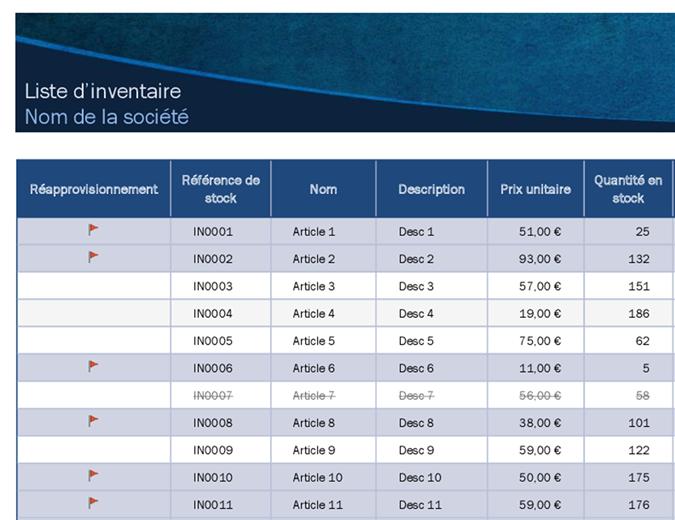 Liste d'inventaire avec mise en surbrillance