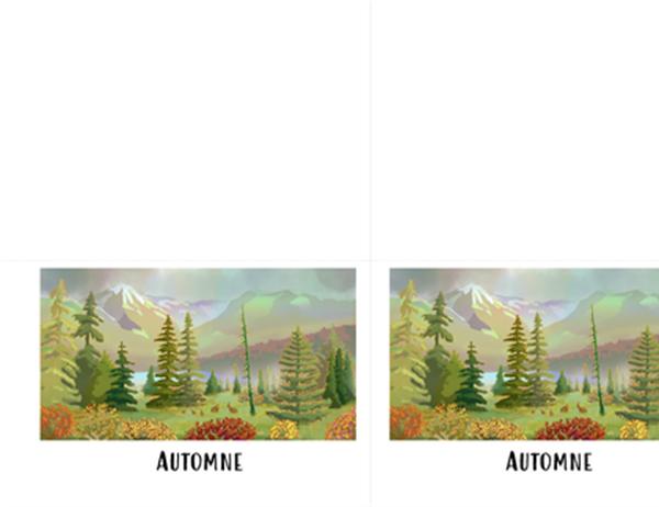 Cartes de vœux avec scènes de nature vierge (pliées en quatre)