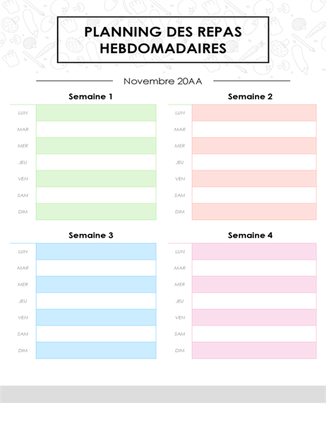 Planning de menus mensuels