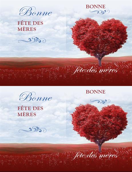 Carte de fête des mères: arbre de cœurs