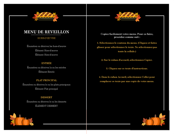 Menu traditionnel de Thanksgiving