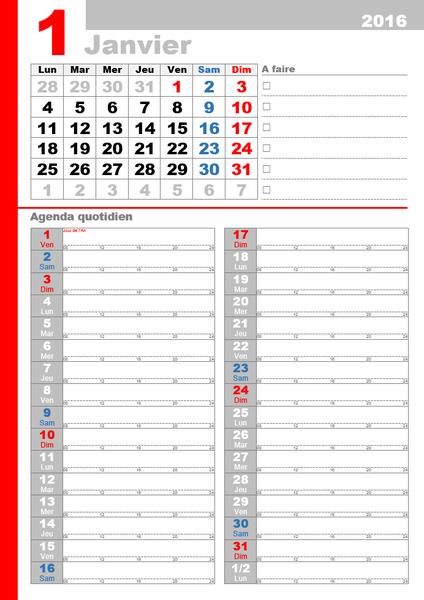 Calendrier mensuel 2016 professionnel avec jours fériés (Lun-Dim)