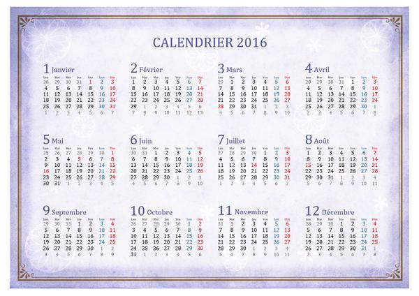 Calendrier mensuel 2016 avec vue annuelle,  style oriental (Lun-Dim)