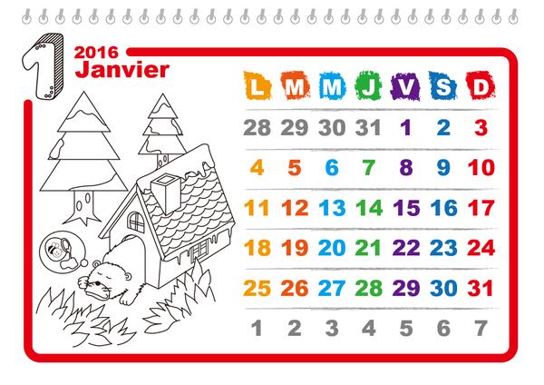 Calendrier mensuel 2016 illustré à colorier (design enfantin, Lun-Dim)
