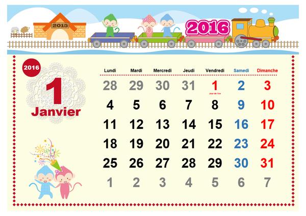 Calendrier mensuel 2016 avec jours fériés (design enfantin, Lun-Dim)