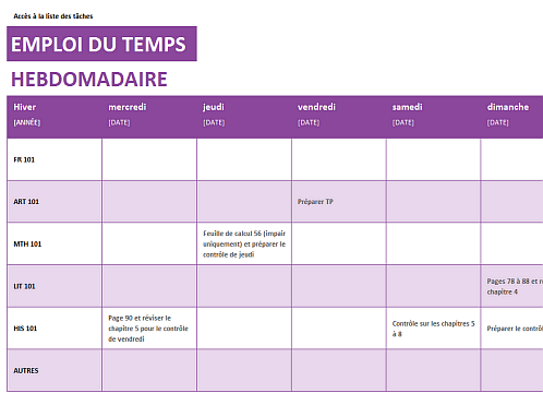 Top Liste de courses - Office Templates CD63