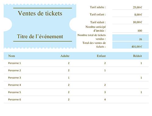 Suivi des ventes de tickets