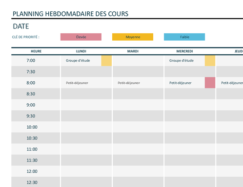 Planning universitaire hebdomadaire