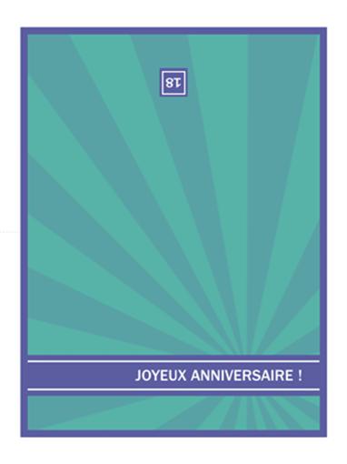 Carte d'anniversaire important (rayons bleus)