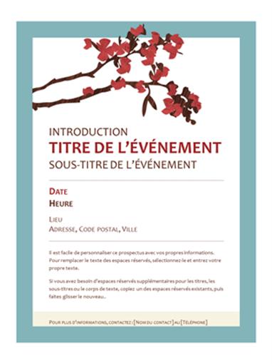 Prospectus pour un événement du printemps (branches en fleurs)