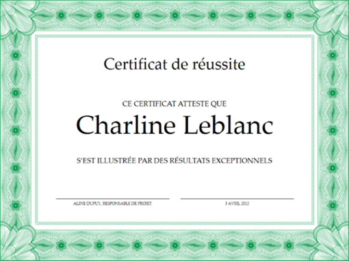 Certificat de réussite (vert)