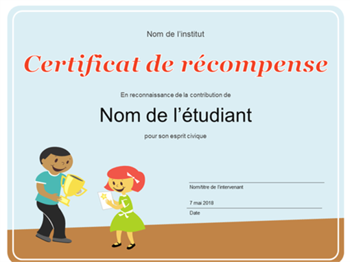 Diplôme de récompense (élèves du primaire)