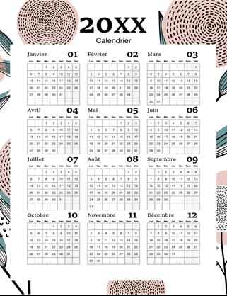 Calendrier annuel complet contemporain fleuri