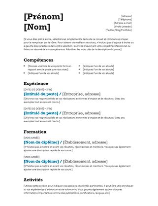 CV équilibré (conception moderne)