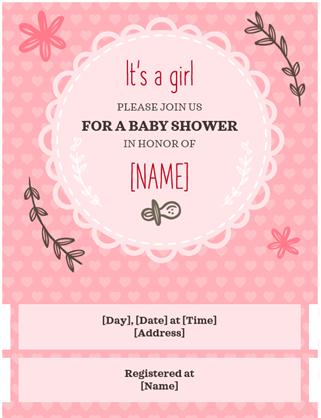 Invitation à une fête prénatale pour une petite fille