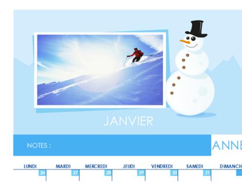 Calendrier photo mensuel perpétuel