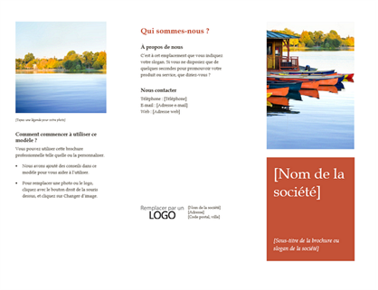 Brochure professionnelle à trois volets (design orange)