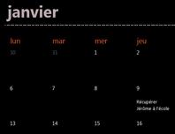 Onglets de calendrier intemporel (noir)