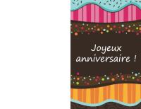 Carte d'anniversaire: pois et rayures (enfants, mi-plié)