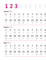 Calendrier trimestriel 2015