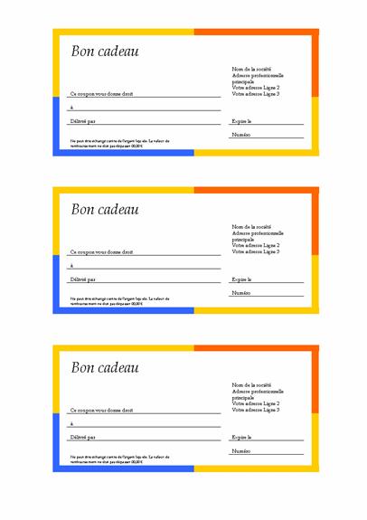 Bon cadeau (bordure multicolore, 3 exemplaires)