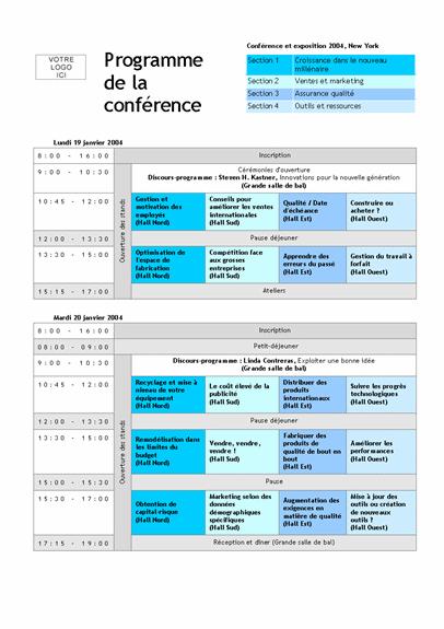 Programme d'une conférence sur plusieurs jours