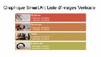 Diapositive SmartArt Liste d'images verticales (plusieurs couleurs sur blanc), grand écran