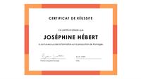 Certificat d'accomplissement (bleu)