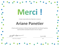 Certificat de remerciements