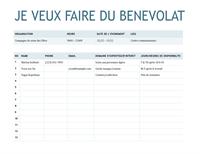 Feuille d'inscription de bénévole