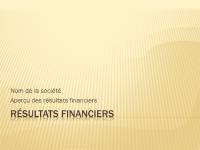 Présentation pour résultats financiers