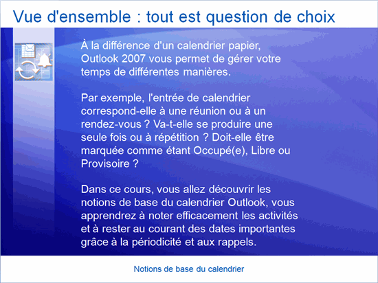 Présentation de formation : Outlook 2007— Principes de base du calendrier
