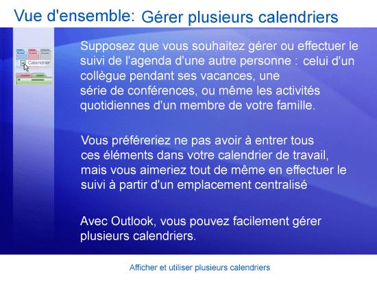 Formation (présentation): Outlook 2007 — Afficher et utiliser plusieurs calendriers