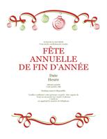 Invitations Fêtes avec ornements verts et rouges (Formel)