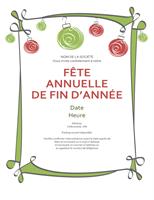 Invitations Fêtes avec ornements verts et rouges (Informel)